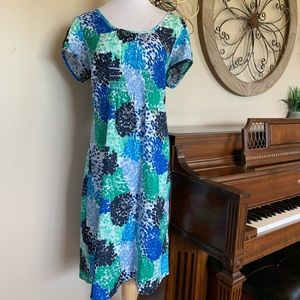 Boden Size 14 Long Colorful Short Sleeve Dress